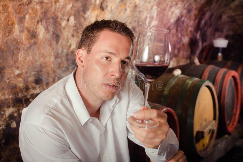 Άτομο που έχει τη δοκιμή κρασιού στο κελάρι στοκ φωτογραφία με δικαίωμα ελεύθερης χρήσης
