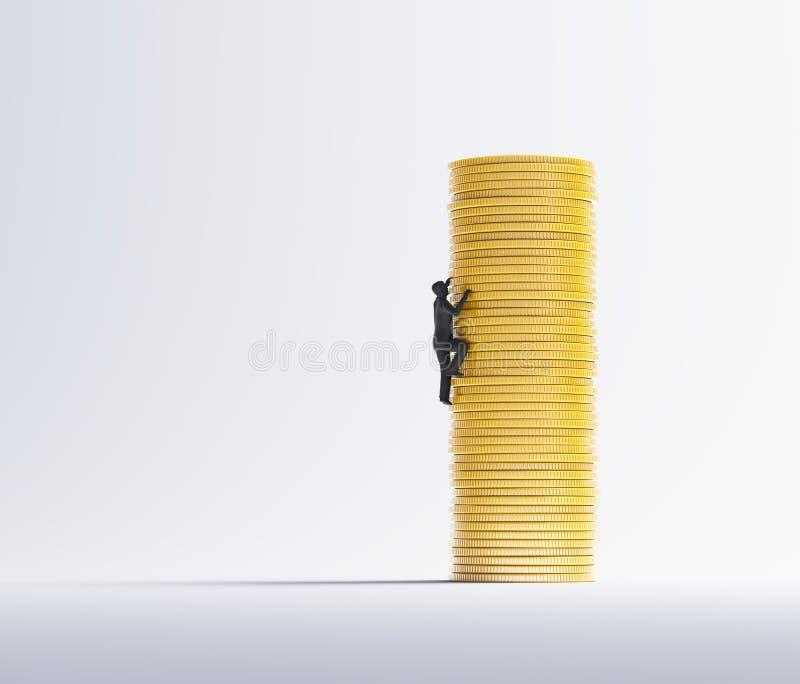 Άτομο που αναρριχείται σε έναν σωρό των νομισμάτων ελεύθερη απεικόνιση δικαιώματος