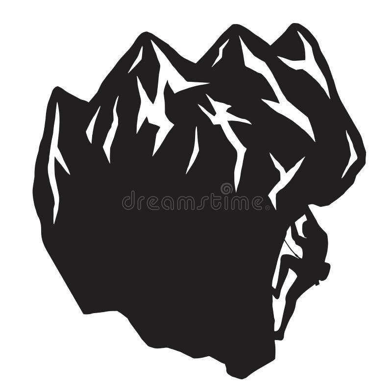 Άτομο που αναρριχείται σε ένα διάνυσμα σκιαγραφιών απότομων βράχων διανυσματική απεικόνιση