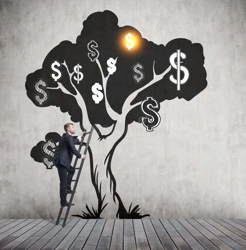 Άτομο που αναρριχείται στο δέντρο δολαρίων στοκ φωτογραφία