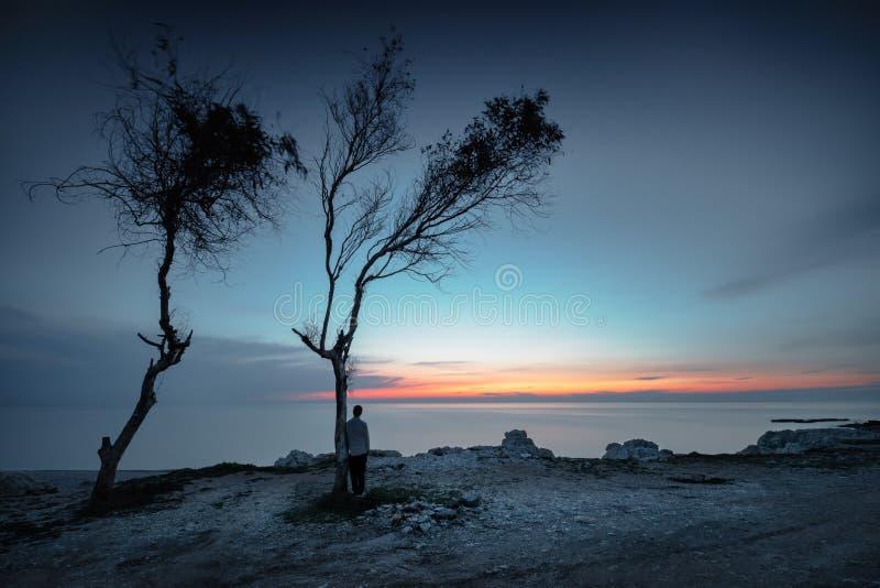 Άτομο που απολαμβάνει το ηλιοβασίλεμα στοκ εικόνα με δικαίωμα ελεύθερης χρήσης