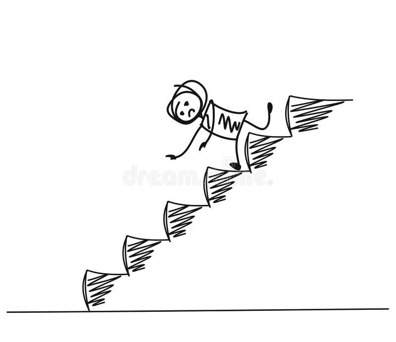Άτομο που αφορά τα κάτω κινούμενα σχέδια σκαλοπατιών διανυσματική απεικόνιση
