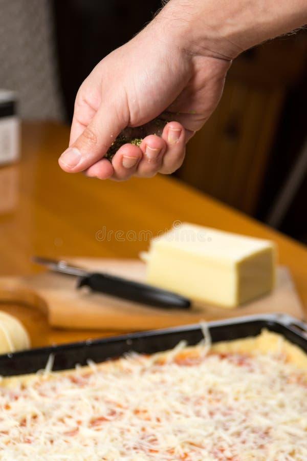 Άτομο που βάζει oregano προς την πίτσα στην παραγωγή στοκ εικόνα με δικαίωμα ελεύθερης χρήσης