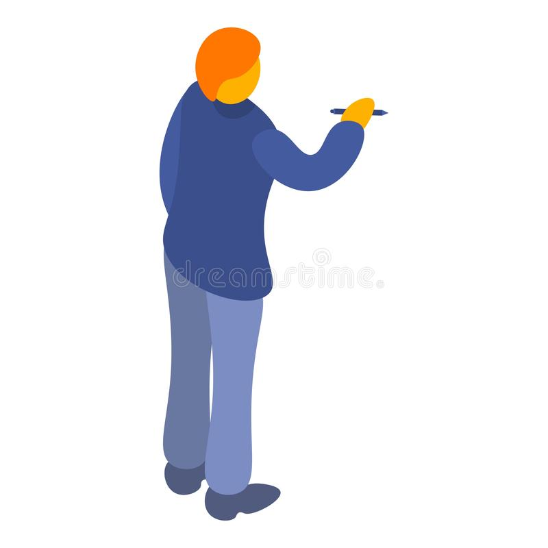 Άτομο που γράφει στο εικονίδιο whiteboard, isometric ύφος διανυσματική απεικόνιση