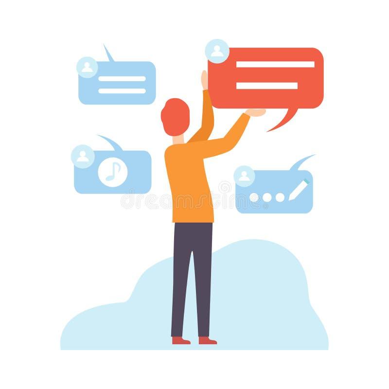 Άτομο που εργάζεται με τα αρχεία, αποθήκευση στοιχείων σύννεφων, σύγχρονες ψηφιακές τεχνολογίες, άνθρωποι που επικοινωνούν μέσω Δ απεικόνιση αποθεμάτων