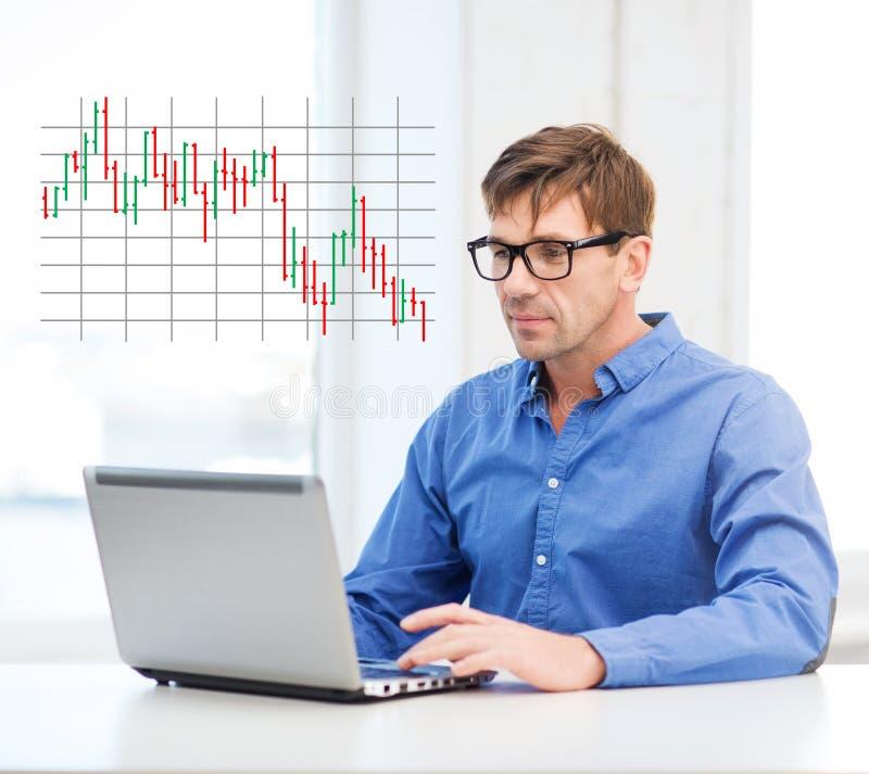 Άτομο που εργάζεται με το lap-top στο σπίτι στοκ εικόνες