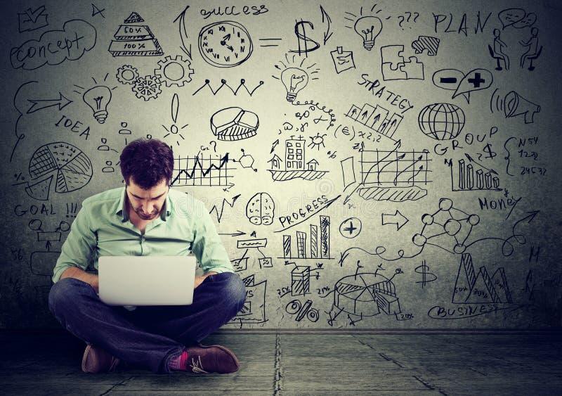 Άτομο που εργάζεται στον υπολογιστή που μαθαίνει το σε απευθείας σύνδεση επιχειρηματικό σχέδιο σχεδίων σχεδίων στον τοίχο στοκ φωτογραφίες με δικαίωμα ελεύθερης χρήσης