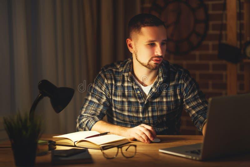 Άτομο που εργάζεται στον υπολογιστή στο σπίτι τη νύχτα στο σκοτάδι στοκ εικόνα με δικαίωμα ελεύθερης χρήσης