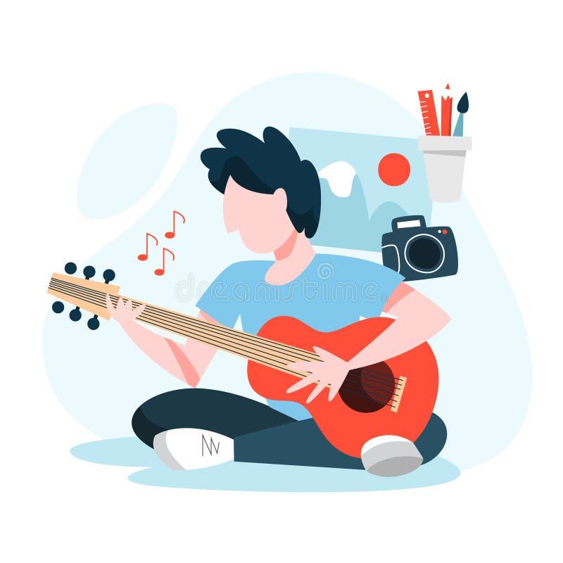 Άτομο που κάθεται και που παίζει την ακουστική κιθάρα Νέος μουσικός απεικόνιση αποθεμάτων
