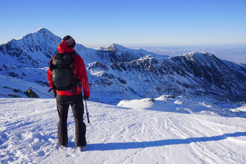 Άτομο που κάνει τη χειμερινή οδοιπορία στα βουνά στοκ εικόνες