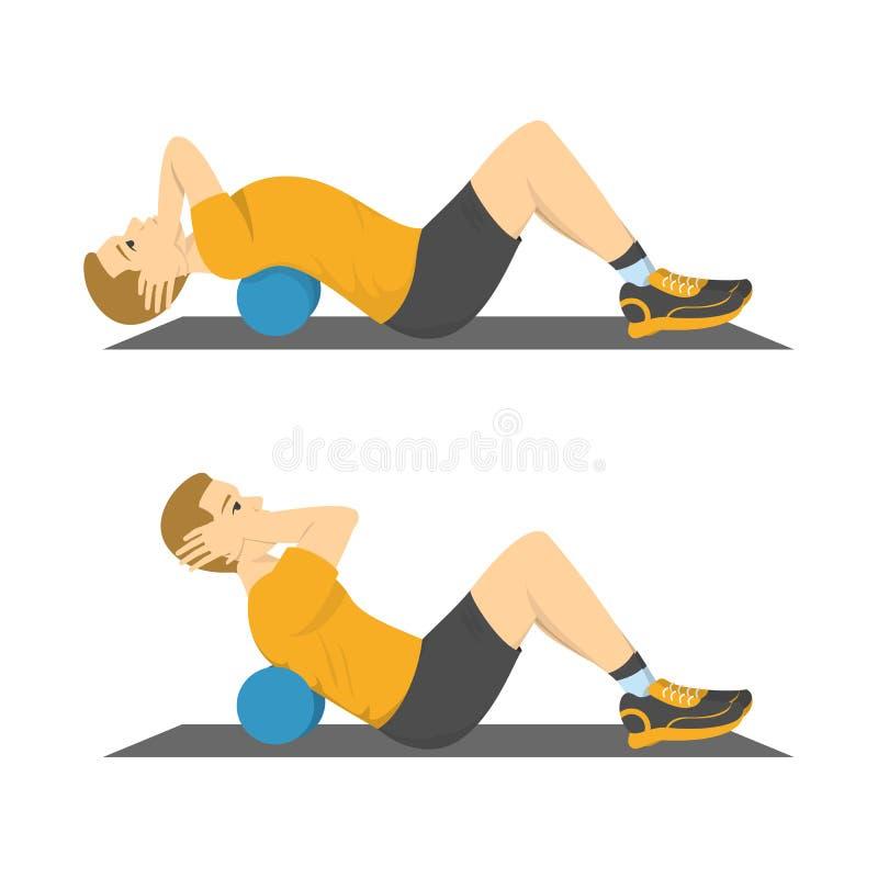 Άτομο που κάνει τις κρίσιμες στιγμές στη γυμναστική Έγκαυμα κοιλιών διανυσματική απεικόνιση