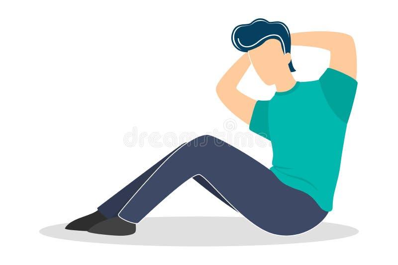 Άτομο που κάνει τις κρίσιμες στιγμές στη γυμναστική Έγκαυμα κοιλιών workout απεικόνιση αποθεμάτων