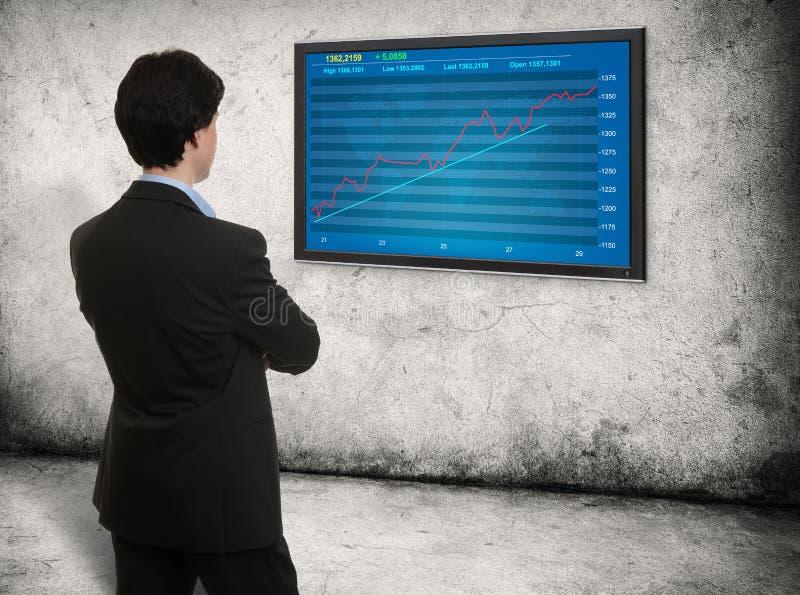 Άτομο που κοιτάζει στη γραφική παράσταση χρηματιστηρίου στοκ εικόνες