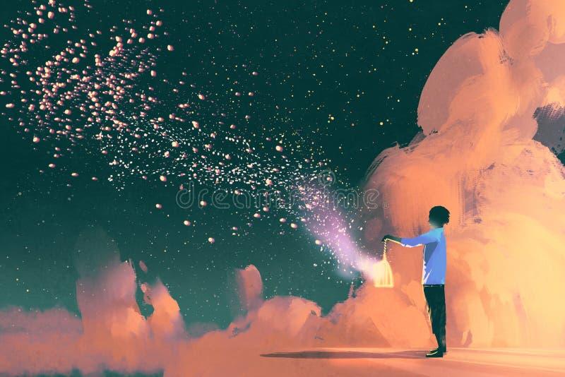 Άτομο που κρατά ένα κλουβί με την επιπλέουσα shinning σκόνη αστεριών απεικόνιση αποθεμάτων