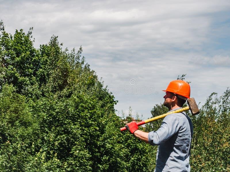 Άτομο που κρατά ένα σφυρί στο πάρκο στοκ φωτογραφίες