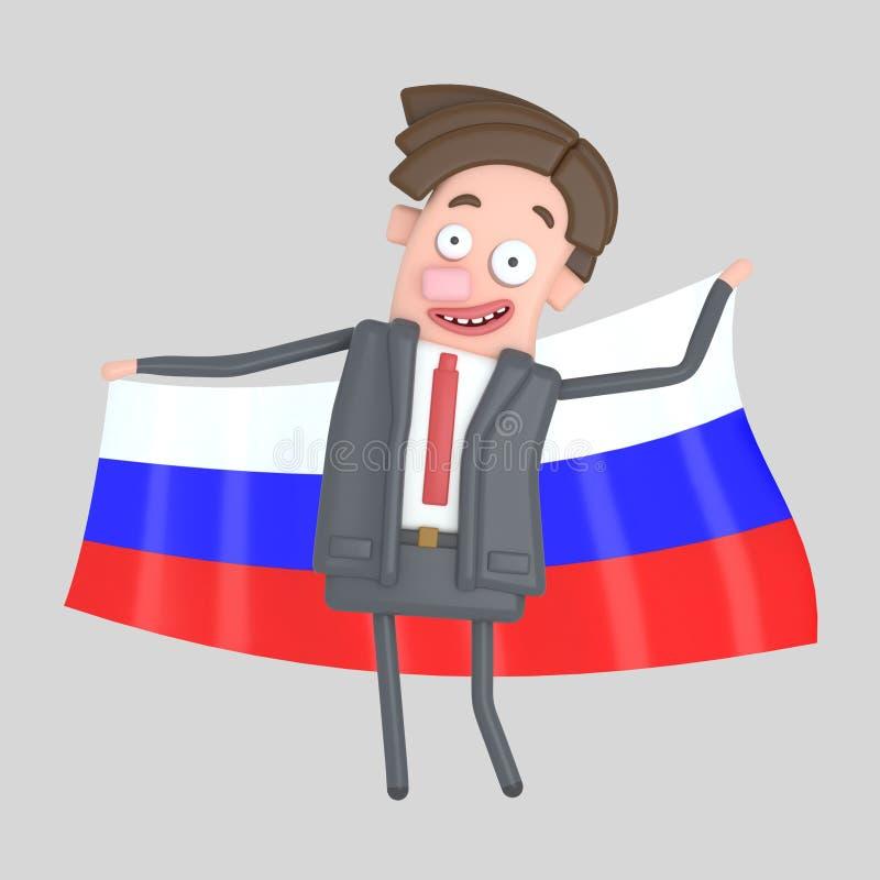 Άτομο που κρατά μια μεγάλη σημαία της Ρωσίας τρισδιάστατη απεικόνιση ελεύθερη απεικόνιση δικαιώματος