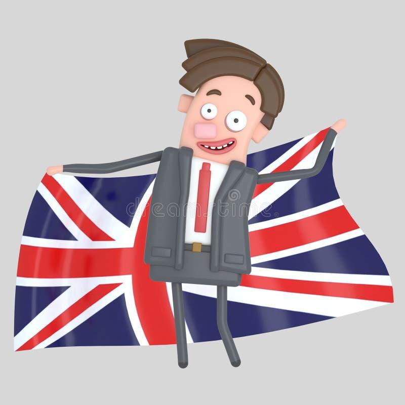 Άτομο που κρατά μια μεγάλη σημαία του UK τρισδιάστατη απεικόνιση απεικόνιση αποθεμάτων