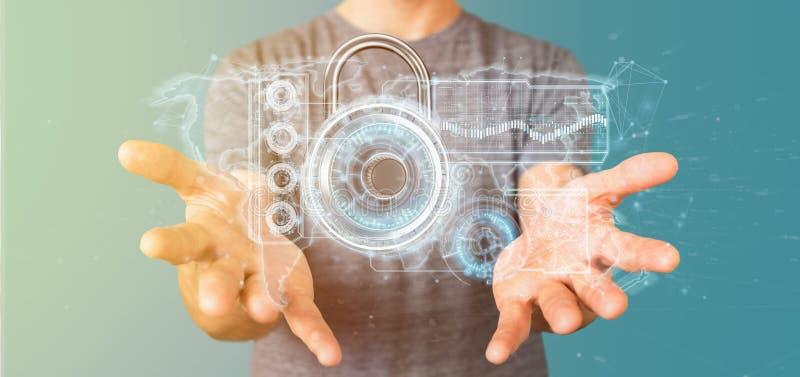 Άτομο που κρατά μια τρισδιάστατη απόδοση έννοιας ασφάλειας Ιστού ασπίδων στοκ φωτογραφία με δικαίωμα ελεύθερης χρήσης