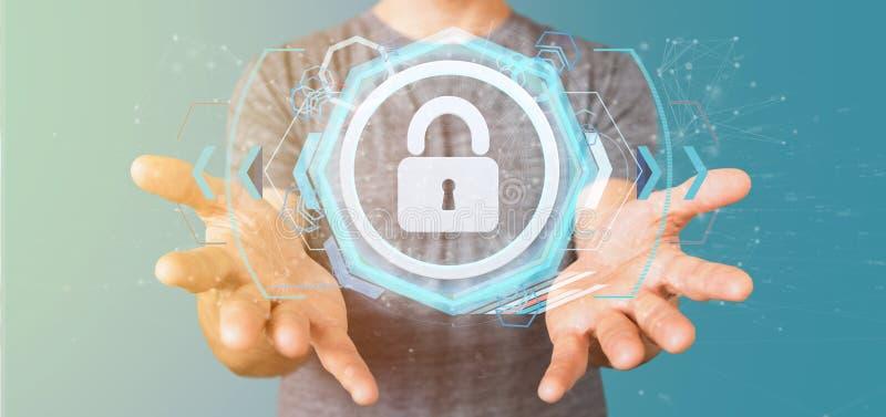Άτομο που κρατά μια τρισδιάστατη απόδοση έννοιας ασφάλειας Ιστού ασπίδων στοκ εικόνες με δικαίωμα ελεύθερης χρήσης