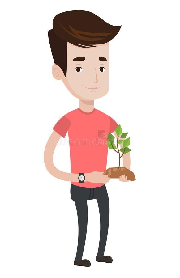 Άτομο που κρατά την πράσινη μικρή διανυσματική απεικόνιση εγκαταστάσεων απεικόνιση αποθεμάτων