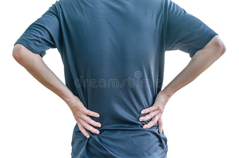 Άτομο που κρατά την πλάτη του στον πόνο, μονοχρωματική φωτογραφία στοκ φωτογραφία με δικαίωμα ελεύθερης χρήσης