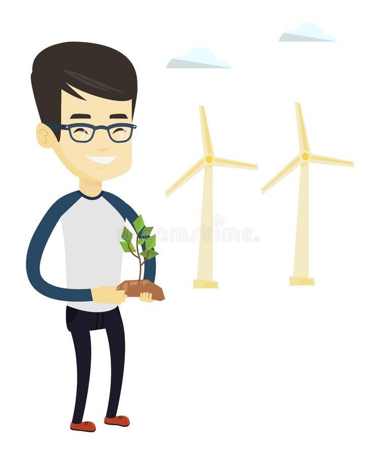 Άτομο που κρατά τη μικρή διανυσματική απεικόνιση εγκαταστάσεων ελεύθερη απεικόνιση δικαιώματος
