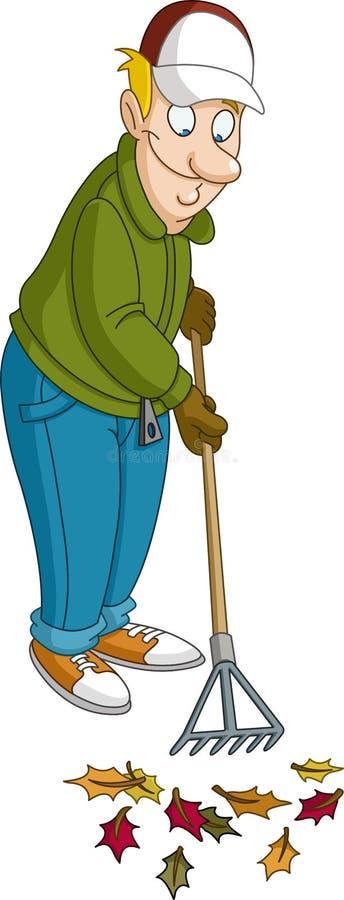 Άτομο που μαζεύει με τη τσουγκράνα τα φύλλα διανυσματική απεικόνιση