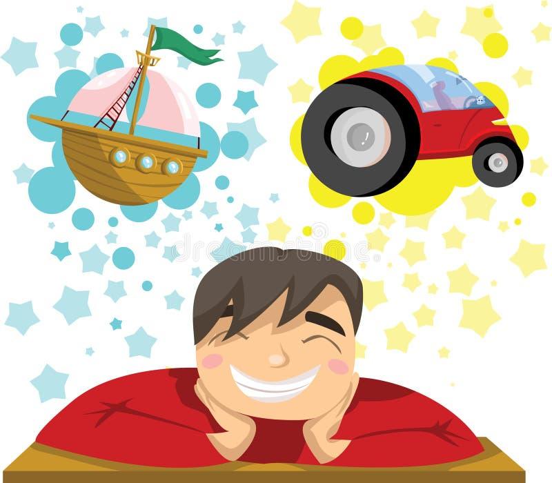 Άτομο που ονειρεύεται το γιοτ και το αυτοκίνητο πολυτέλειας ελεύθερη απεικόνιση δικαιώματος