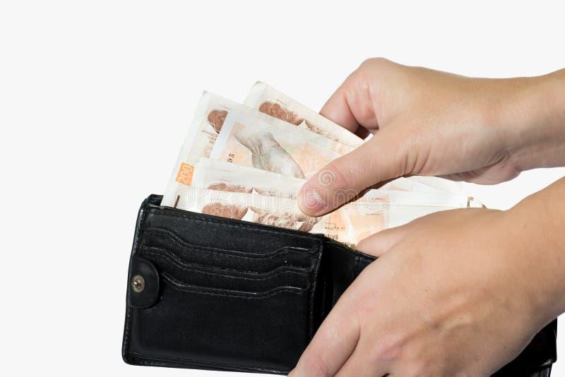 Άτομο που παίρνει τα τσεχικά χρήματα από το πορτοφόλι στοκ εικόνα