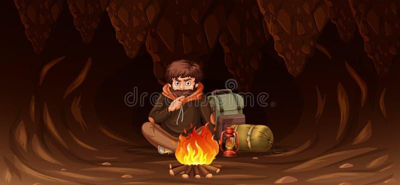 Άτομο που παγιδεύεται στη σπηλιά διανυσματική απεικόνιση