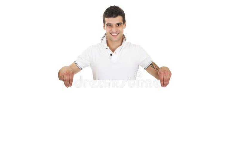 Άτομο που παρουσιάζει και που επιδεικνύει αφίσσα στοκ εικόνα με δικαίωμα ελεύθερης χρήσης