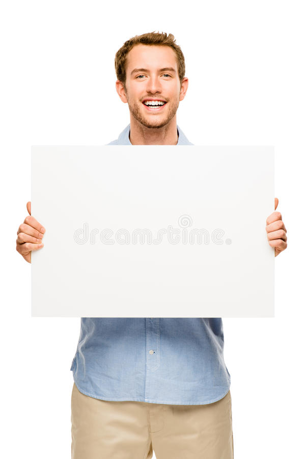 Άτομο που παρουσιάζει κενή διαστημική άσπρη αφίσσα στοκ εικόνες