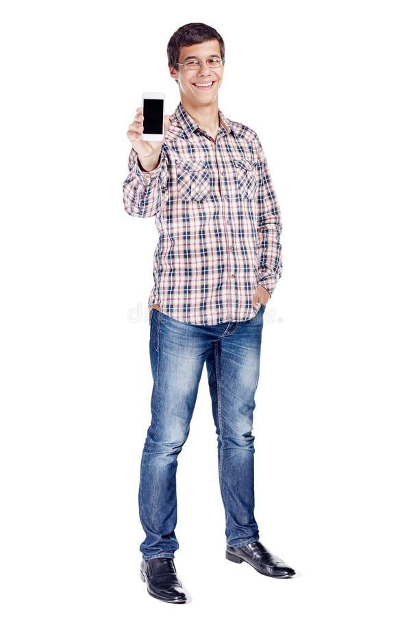 Άτομο που παρουσιάζει στο τηλέφωνο πλήρες σώμα στοκ φωτογραφίες