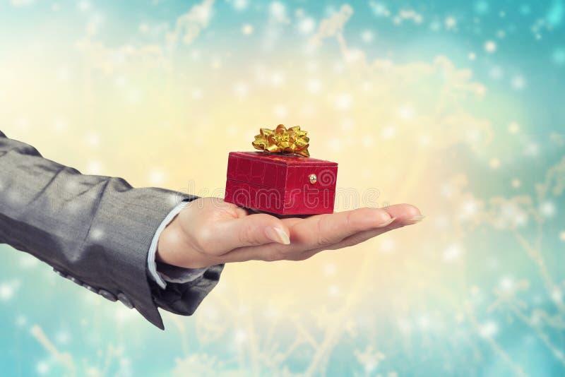Άτομο που παρουσιάζει το δώρο του στοκ φωτογραφία με δικαίωμα ελεύθερης χρήσης