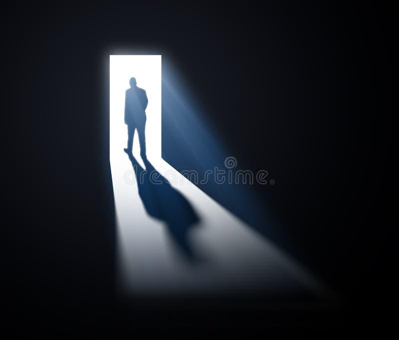 Άτομο που περπατά έξω στο φως διανυσματική απεικόνιση