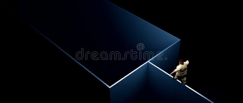 Άτομο που περπατά μια στενή γραμμή διανυσματική απεικόνιση