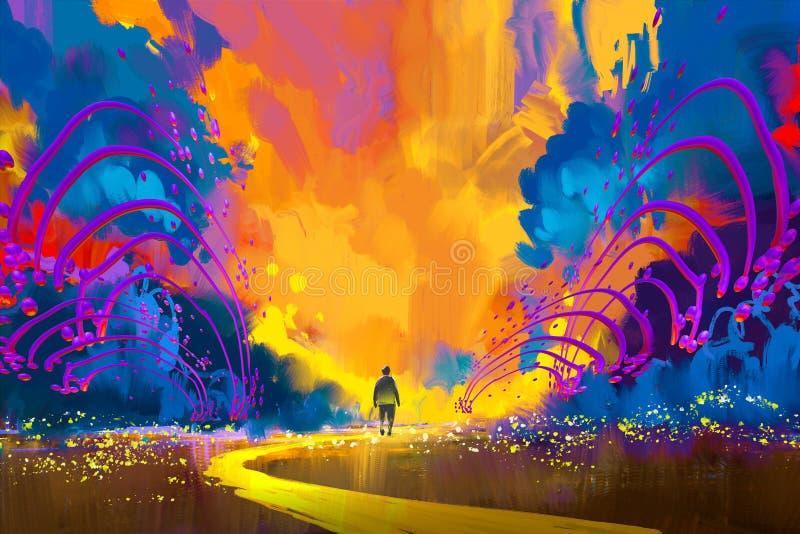 Άτομο που περπατά στο αφηρημένο ζωηρόχρωμο τοπίο διανυσματική απεικόνιση