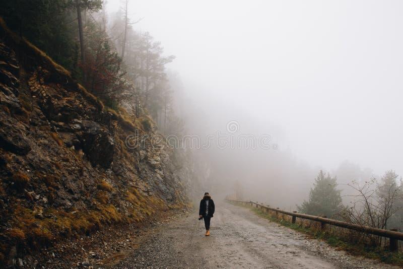 Άτομο που περπατά στο ομιχλώδες δάσος στοκ εικόνες