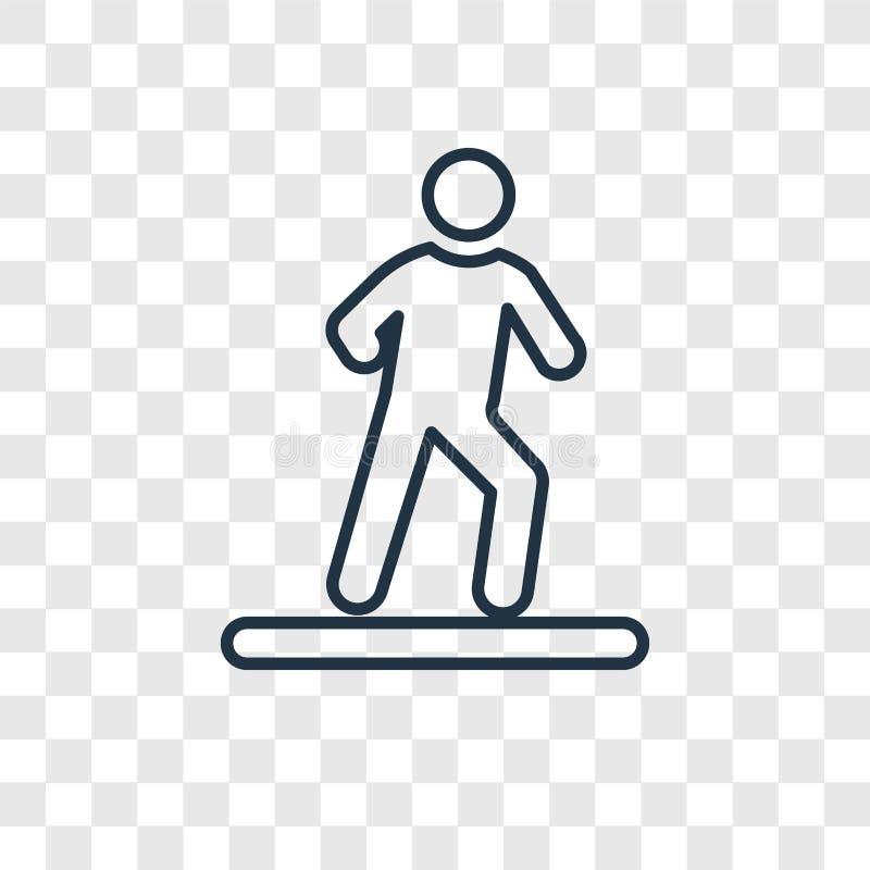 Άτομο που περπατά στο σωστό διανυσματικό γραμμικό εικονίδιο έννοιας που απομονώνεται σε tran απεικόνιση αποθεμάτων