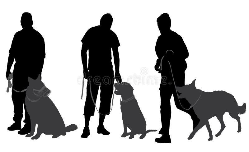 Άτομο που περπατά τη σκιαγραφία σκυλιών του διανυσματική απεικόνιση