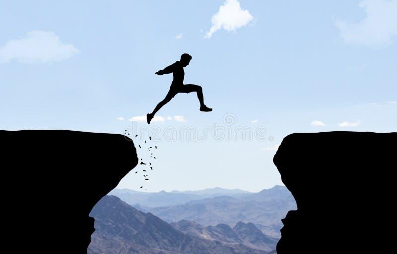 Άτομο που πηδά πέρα από την άβυσσο διανυσματική απεικόνιση