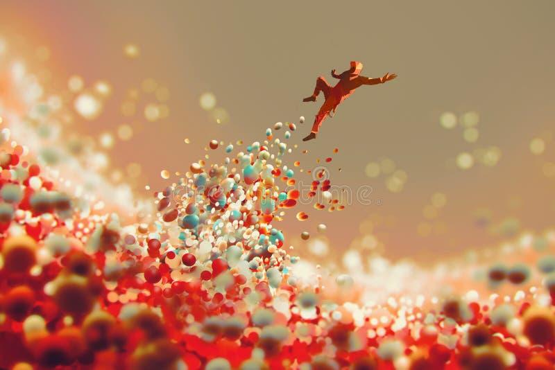 Άτομο που πηδά επάνω από το μέρος των ζωηρόχρωμων σφαιρών διανυσματική απεικόνιση
