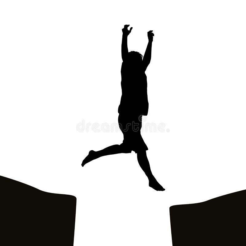 Άτομο που πηδά πέρα από ένα χάσμα απεικόνιση αποθεμάτων