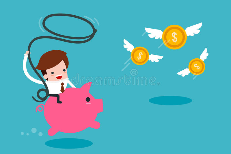 Άτομο που πιάνει τα πετώντας χρήματα απεικόνιση αποθεμάτων