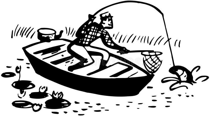 Άτομο που πιάνει τα ψάρια στη βάρκα ελεύθερη απεικόνιση δικαιώματος