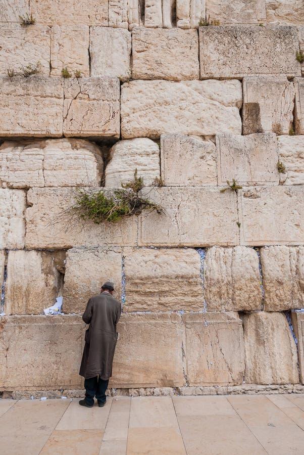 Άτομο που προσεύχεται στο δυτικό τοίχο, Ιερουσαλήμ, Ισραήλ στοκ φωτογραφία