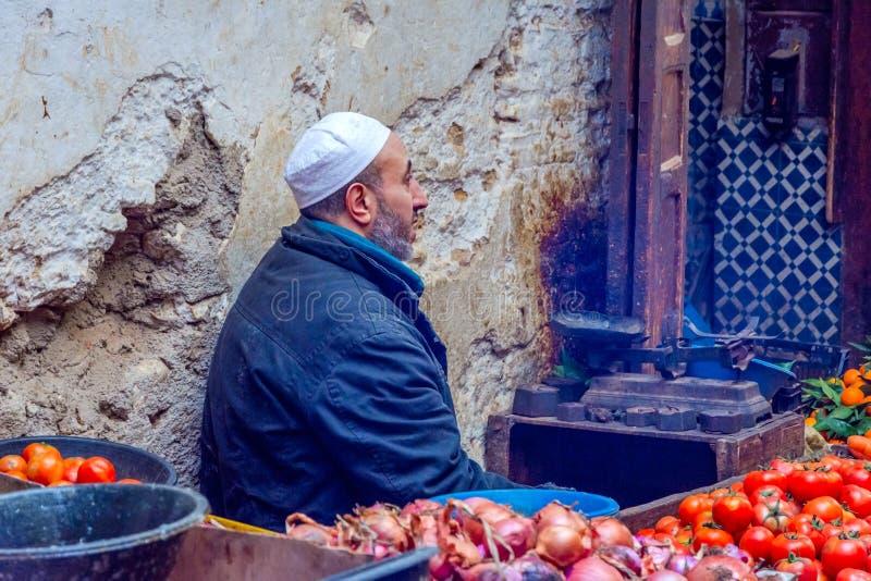 Άτομο που πωλεί veggies, Fez στοκ εικόνες με δικαίωμα ελεύθερης χρήσης
