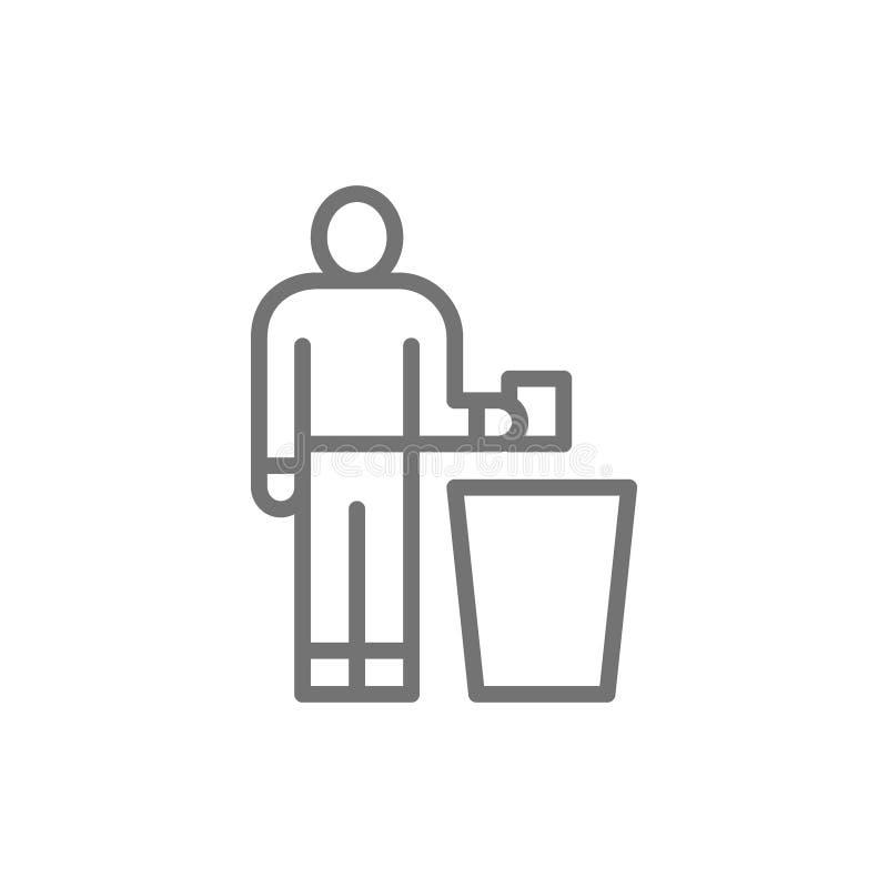 Άτομο που ρίχνει έξω τα απορρίματα, εικονίδιο γραμμών απορριμμάτων απεικόνιση αποθεμάτων