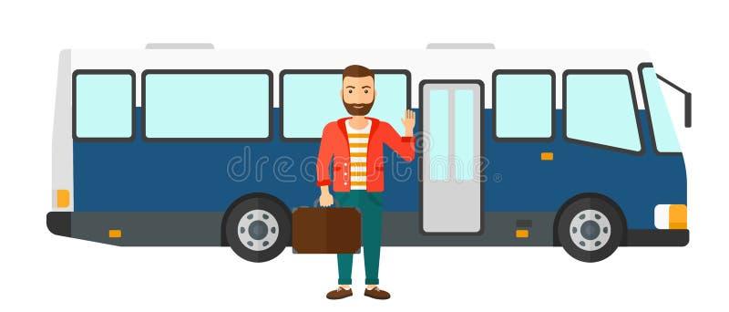 Άτομο που στέκεται κοντά στο λεωφορείο διανυσματική απεικόνιση