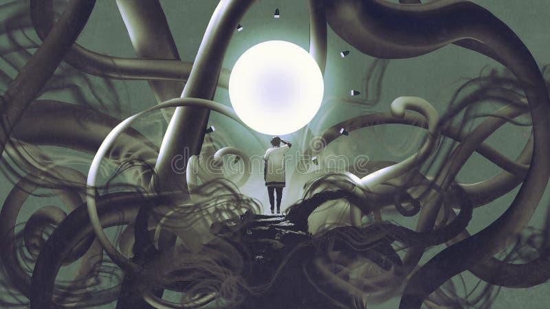 Άτομο που στέκεται στην αφηρημένη θέση με τον καμμένος κύκλο απεικόνιση αποθεμάτων